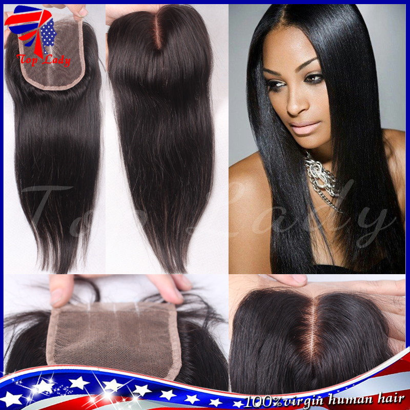 7A Cheap Peruvian Lace Closure Bleached knots Virgin Hair,4X4 Peruvian Straight Closure Human Hair Closures, Lace Front Closure(China (Mainland))
