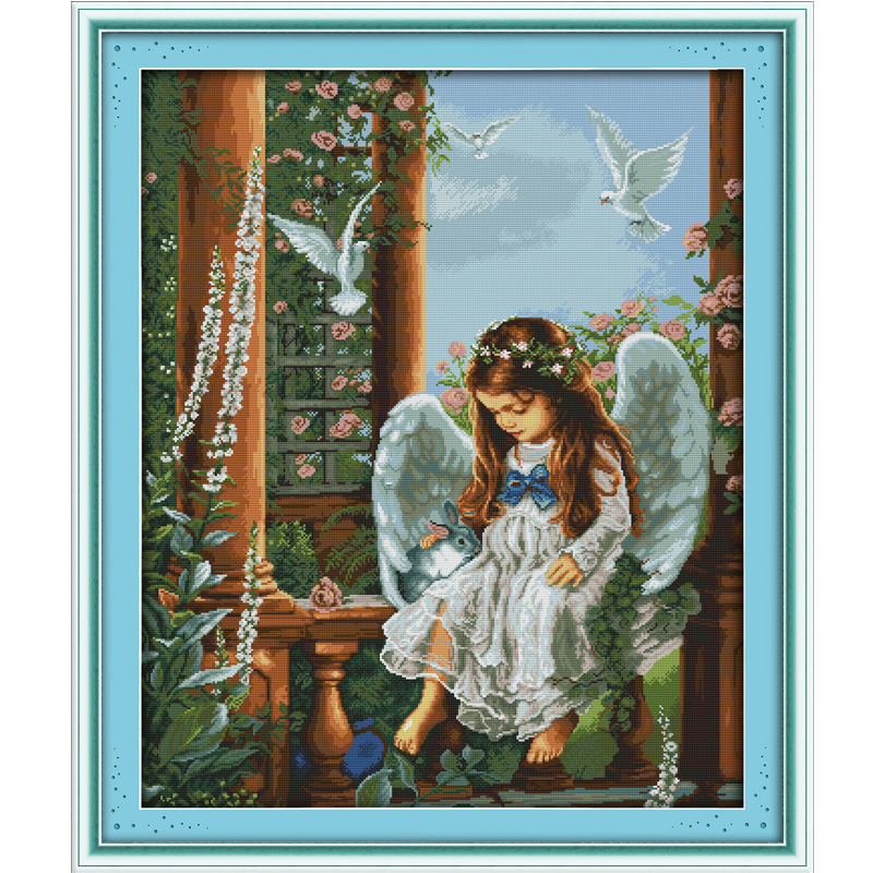 Love angel Counted Cross Stitch DIY 11CT Printed 14CT Cross Stitch Sets DMC Cross-Stitch Kits Embroidery Needlework WR142