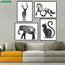 AZQSD Art Print Poster Vintage Black White Animals Silhouette Wall Picture Canvas Painting For Living Room Decor No Frame PP048(China (Mainland))