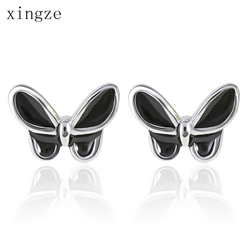 Style High New Quality Cute Black Butterfly Silver Plated Stud Earrings Black Glue Design Women Fine Jewelry Wholesale(China (Mainland))