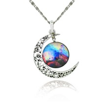 Brand Silver Color Jewelry Fashion Moon Statement Necklace Glass Galaxy Collares Necklace Pendants Maxi Necklace for