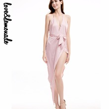 Buy Love&Lemonade V-Neck Halter Sexy Party Dress Nude/Green/Yellow/Red/Navy TB 9071 for $32.99 in AliExpress store