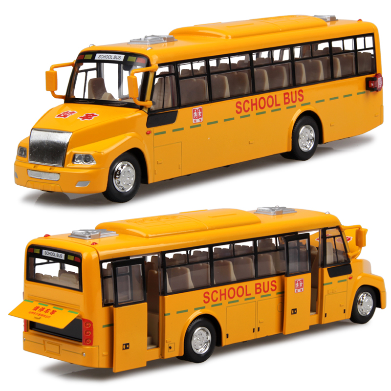 diecast bus toy pull back long bread bus model school bus alloy car models children toys 24cm Free Shipping(China (Mainland))