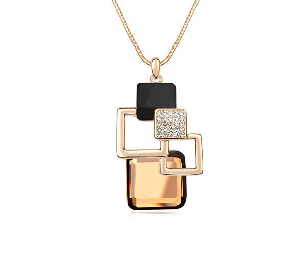 Austrian Crystal Light Coffee & Champagne Long Necklace Sweater chain Fashion Cube Necklace Boutique Women Jewelry Gifts NXL0144