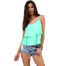 Women Short Strap Vest Summer Top V-neck Ruffled Camis Blouses Chiffon Shirt Tank Tops S-XXL New Summer Style 2016 Women Tops(China (Mainland))