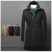 2015 free shipping exquisite famous leisure new autumn winter hit dyed dark placket design decorative casual men's coats(China (Mainland))