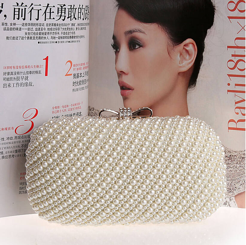 Two Sided Beaded clutch 2015 NEW Fashion Exquisite Beaded Evening Bag, Noble Elegant Pearl Clutch Bags Shoulder Bags Party purse<br><br>Aliexpress