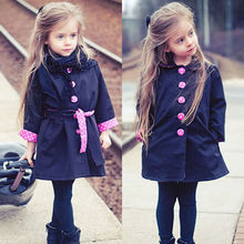 2-7Y Child Girls Kids Fashion Cute Jacket Trench Coat Slim Outwear Outfits Tops(China (Mainland))