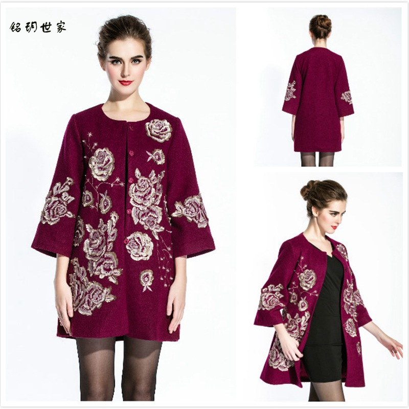 2016 Fashion Womens Coats Women Wool Cloak Plus Large Size Women's Embroidery Floral Elbow Sleeve Ladies Coat 3 4XL Casaco Preto(China (Mainland))