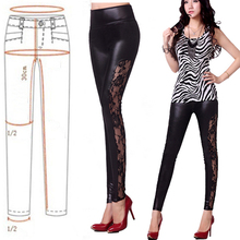 Women Sexy Splicing Lace Leather Leggings Skinny Stretch Pants Trousers Slim Fit(China (Mainland))