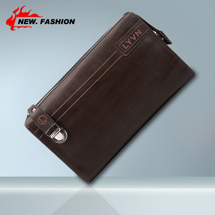 Gift 2015 New Genuine Leather Men Wallets Clutch Retro Fashion Money Clip Men Wallets And Purses Wholesale Brown Coffee(China (Mainland))