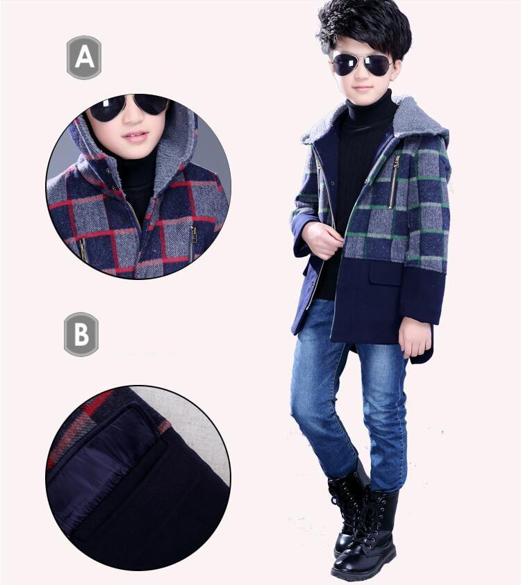 Скидки на Новый осень зима мальчики куртки Bristish стиль плед с капюшоном мальчик верхняя одежда пальто с длинным рукавом теплый шерстяной плащ для детей мальчик