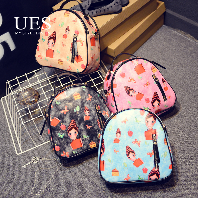 UES Fashion Multifunctional Small woman Backpack European style Cartoon Lovely Bag For Lady Personalized OEM China Shipping 2015(China (Mainland))