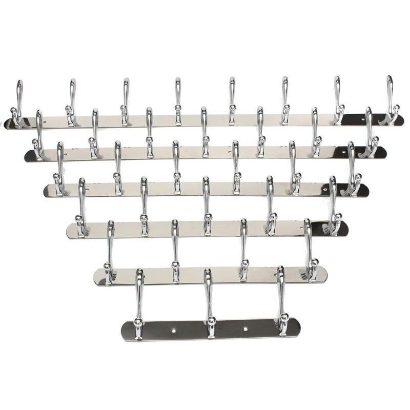 Best Promotion 3-8 Hooks Wall Door Bathroom Bedroom Mounted Hanger Chrome Hooks Coat Hat Towel Rack(China (Mainland))