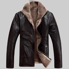 M-6XL 2015 Men's leather coat sheep leather jacket men winter warm jaqueta de couro masculina jaqueta masculina plus size brown