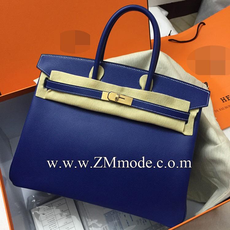 ZMmode 100 off% discount french leather handbag BK H BAGS women's handbag 35cm T7 blue(China (Mainland))