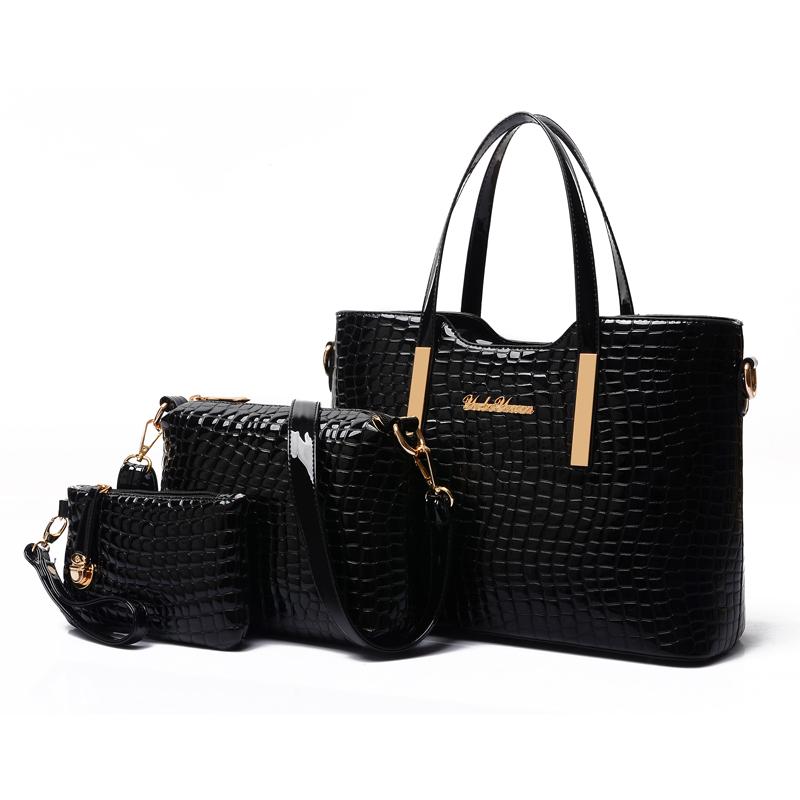 Fashion crocodile leather bags designer handbags women famous brand purses tote shoulder crossbody bag clutch 3 set sac