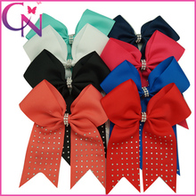 6.5″ High Quality Rhinestone Cheerleading Bow For Girls Grosgrain Ribbon Cheer Bows With Alligator Clip New Arrival Cheer Bow