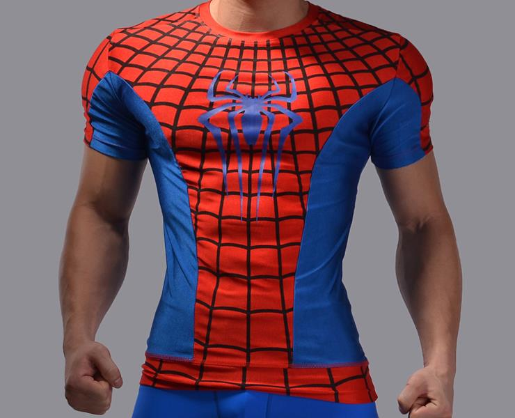 Cody Lundin Men's Sonic Compression Red Spider-Man War Hero Short Sleeved Sport Tights T-shirt(China (Mainland))