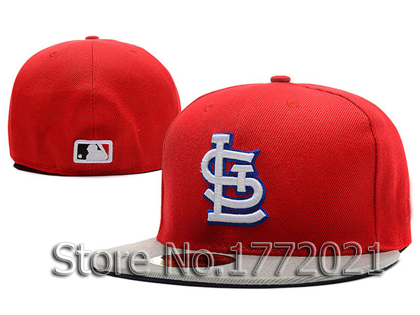 Men's STL sport team fitted caps two tone flat visor St. Louis Cardinals red/gray baseball hats(China (Mainland))