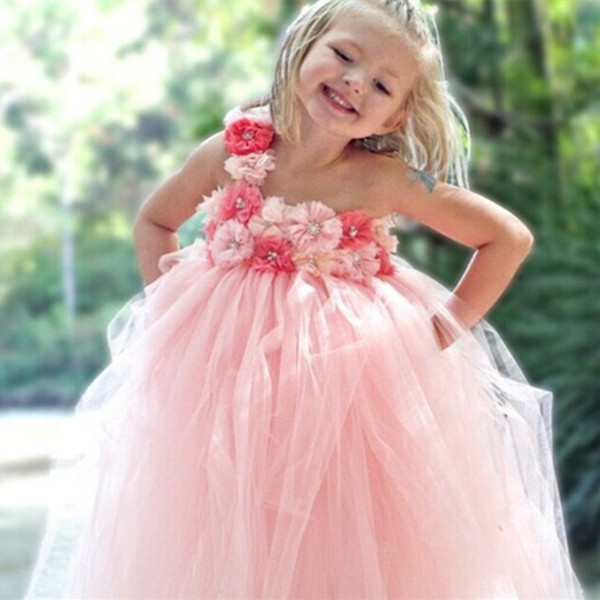 Sweet princess flower girl dress Gorgeous coral pink/sky blue girls costumes for wedding party photography props 1pc TT016(China (Mainland))