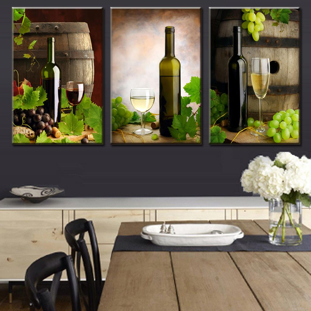 3 pieces modern spray canvas painting wine and wine for Wine wall art decorating dining room