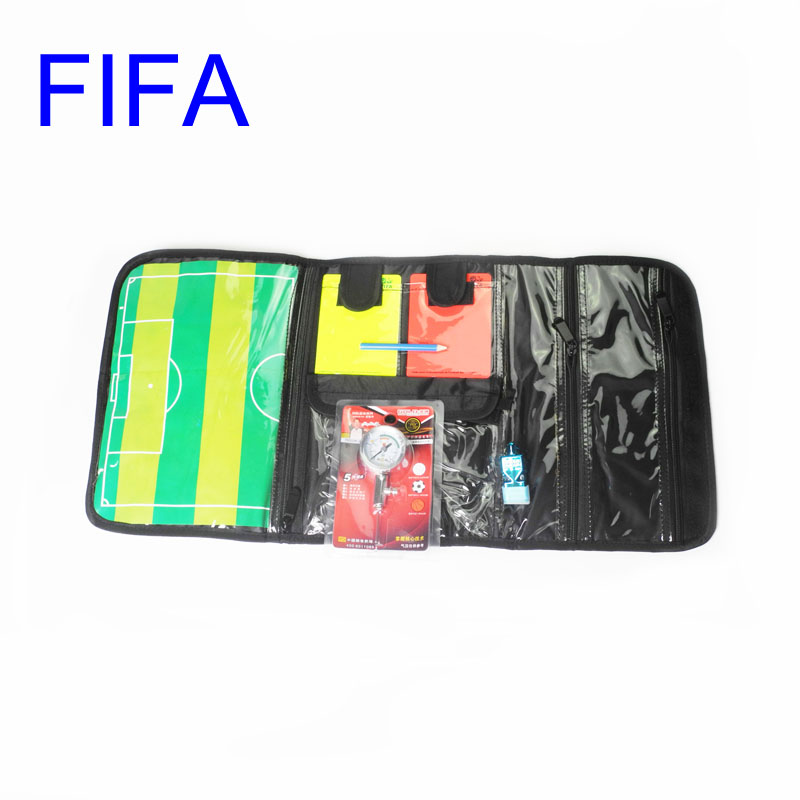 Gojoy Soccer referee wallet with card coin whistle barometer Professional Football bag set for referee Wholesale(China (Mainland))