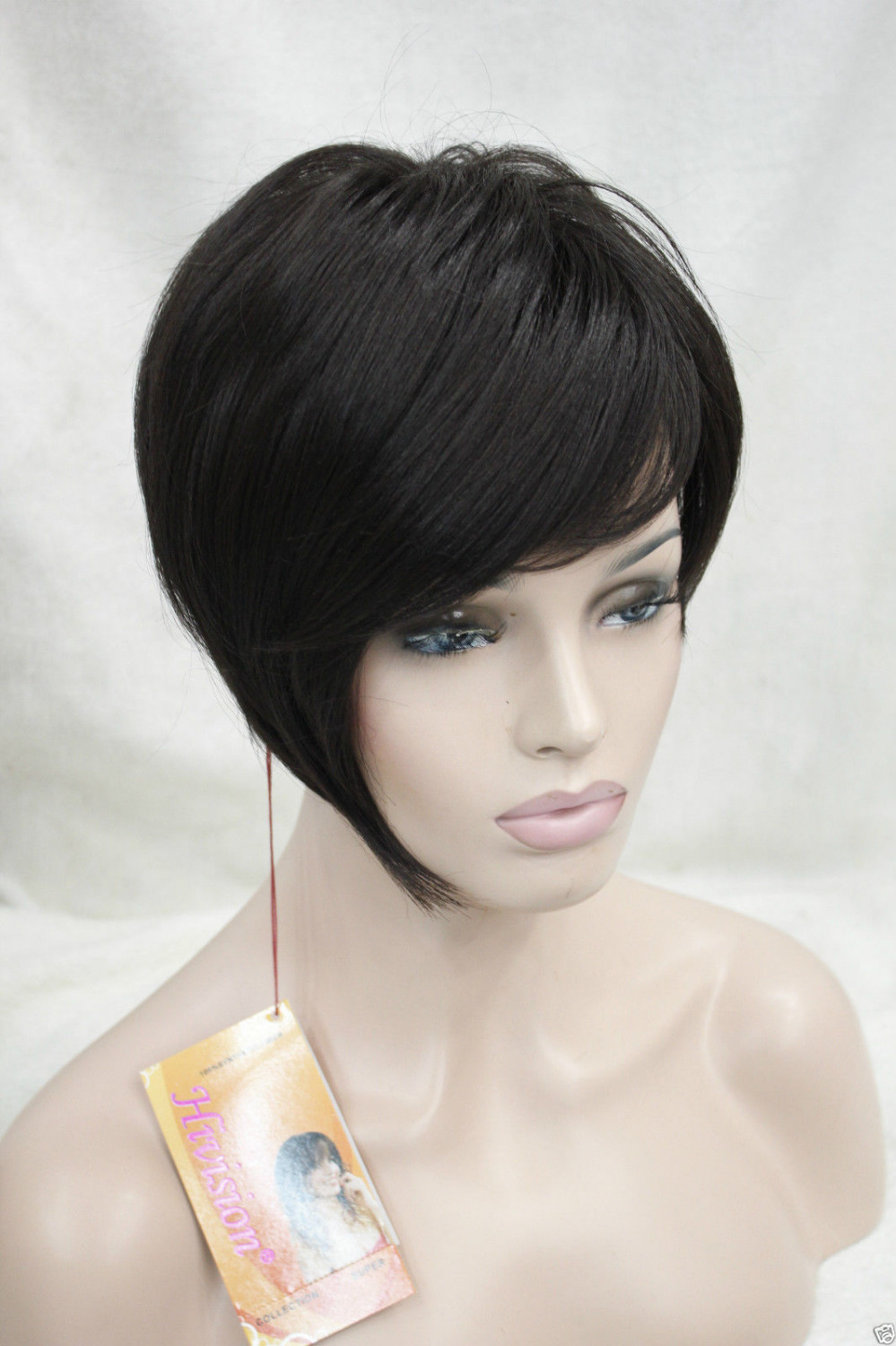 004284 High quality synthetic asymmetrical dark brown tilted bangs straight short wig