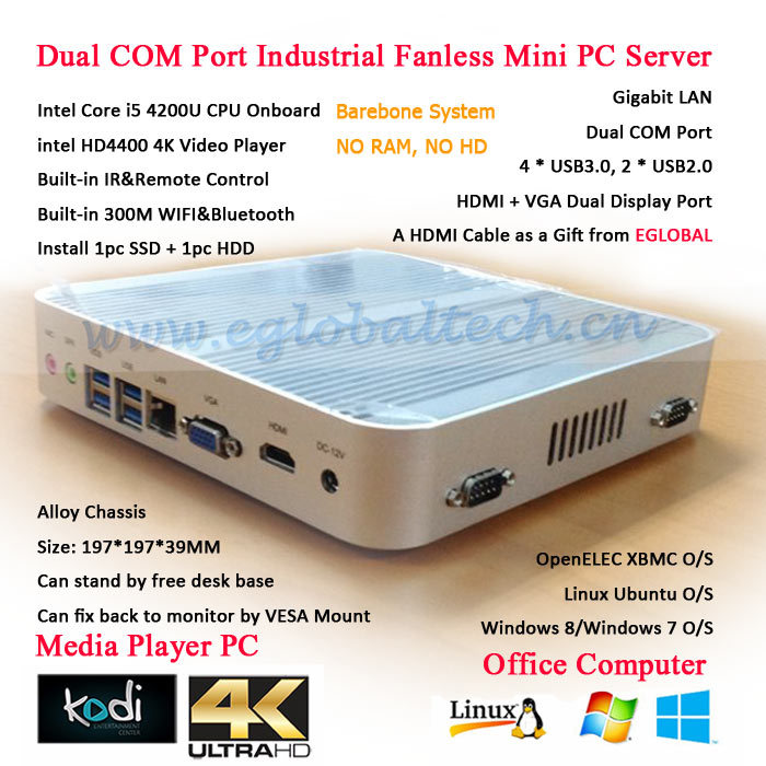 Industrial Computer Dual RS232 COM 3years Warranry Fanless Barebone Mini PC Eglobal Alumium Case Intel NUC Core i5 4200U CPU(China (Mainland))