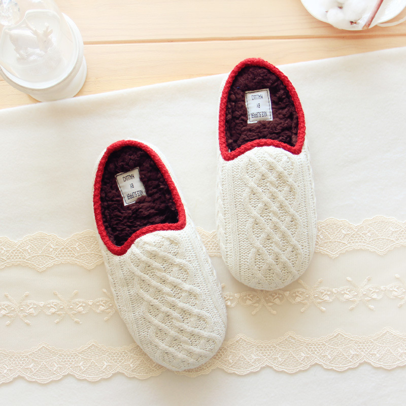 Warm Winter Indoor Slippers Jacquard Knitting Home Knitted Slippers For Women Chausson Femme Schoenen(China (Mainland))