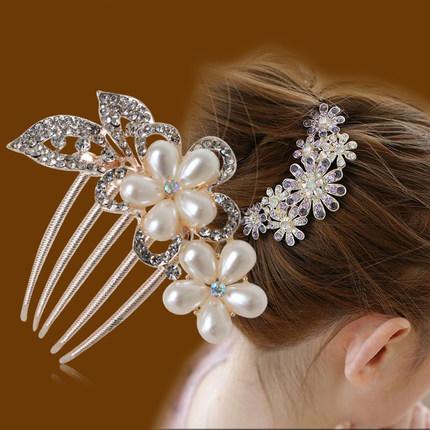 Free Shipping Fashion Bridal Hair Accessories Tuck Comb Wedding Jewelry Pearl Crystal Handmade Bridal Hair Comb Hair Jewelry(China (Mainland))