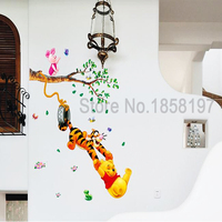 Winnie The Pooh Cartoon Sticker Creative Partner Portfolio Removable Wall Stickers Parlor Kids Bedroom Home Decor Mural Decal