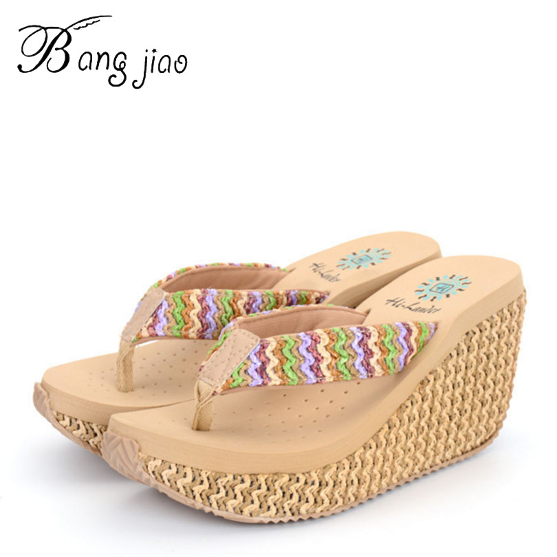 Fashion Summer Style Women Sandals High Heels Flip Flops Beach Wedge Rainbow Strap Platform 7D07 - Li zhi store