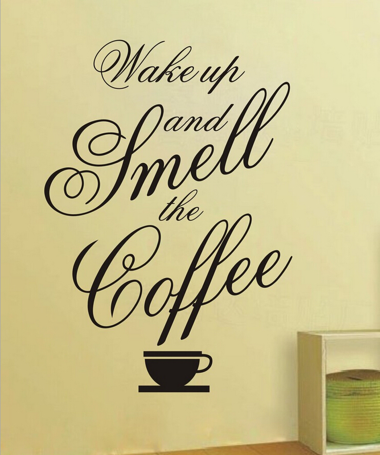 Free shipping Make Up And Smell The Coffee... Relax Quotes Living Room Vinyl Art Wall Decal Sticker for home decoration(China (Mainland))