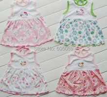 Random Color Lowest Price Cotton 0 to 1 year baby girls dress casual kids mini dresses uhki032