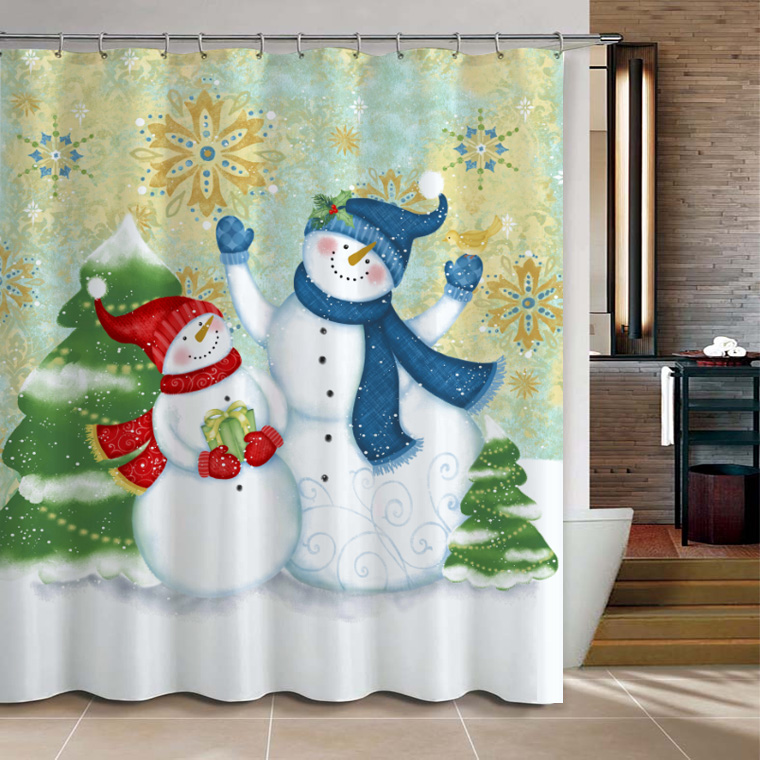 Christmas snowman bathroom products shower curtain for Mr price home christmas decor