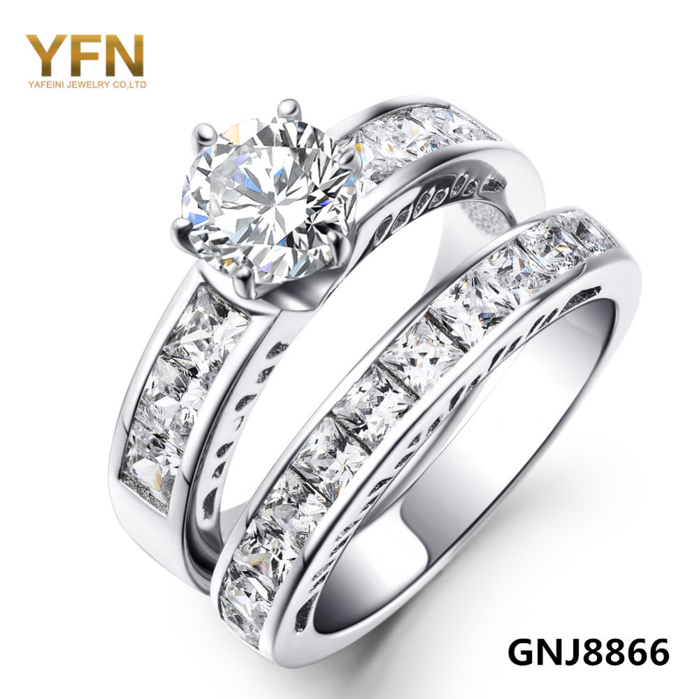 wedding ring set genuine 925 sterling silver rings for women 2pcs set