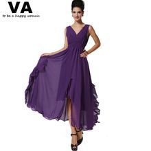 Women Sexy Purple Dresses Chiffon V Neck Split A Line Dress Woman Summer Casual New Arrival Slim Elegant Vestido Longo W00524(China (Mainland))