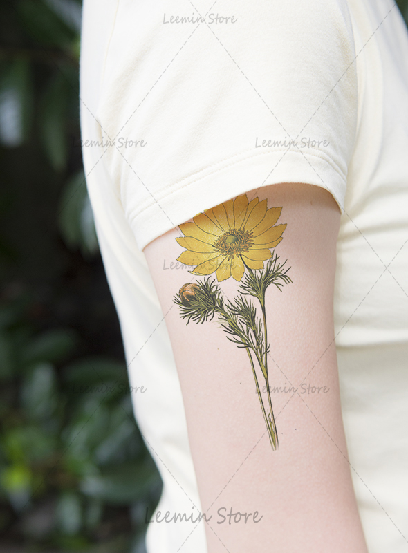 Plant tattoo retro sunflower tattoo sticker arm in for Sunflower temporary tattoo
