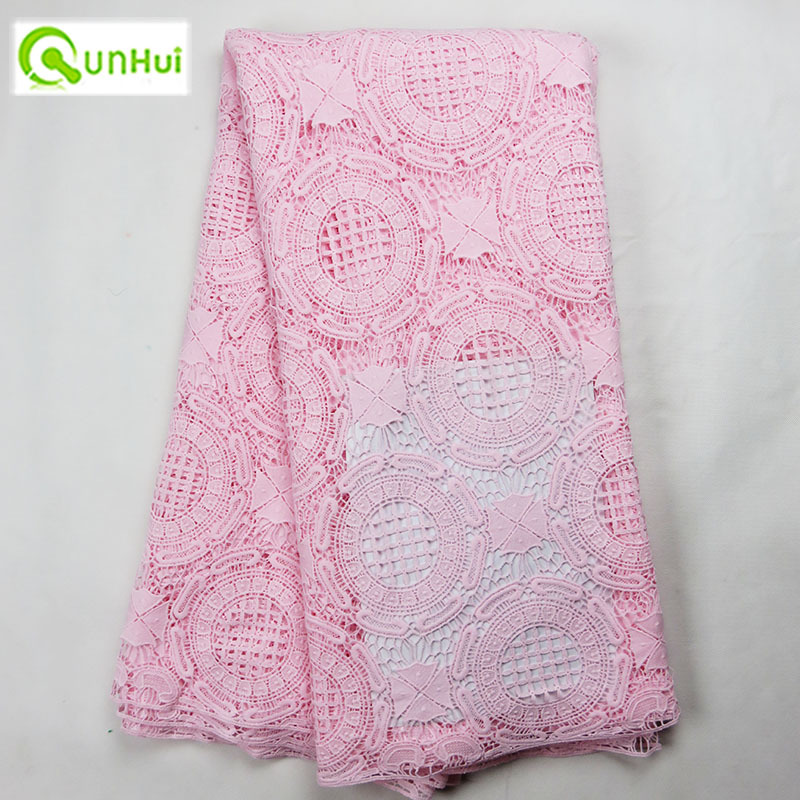 Big circle design new fashion embroidered guipure lace fabric pink,good quality African cord wedding dress! - Qunhui Trading Co., Ltd. store