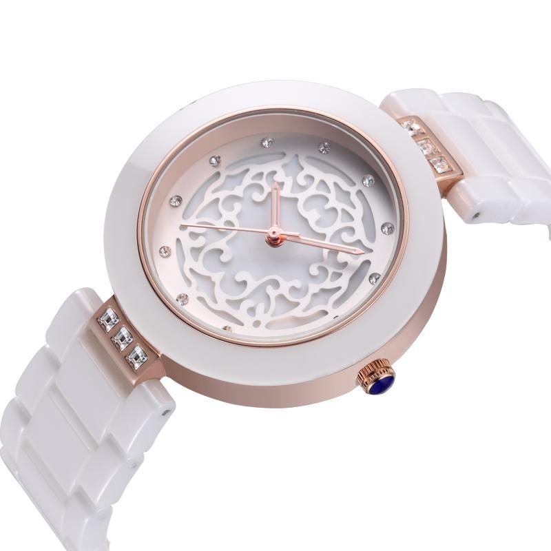 2015 New Design Hollow Out Dial Women White Ceramic Strap Watches Luxury Brand WEIQIN Geneva Rhinestone Watch relogio feminino(China (Mainland))