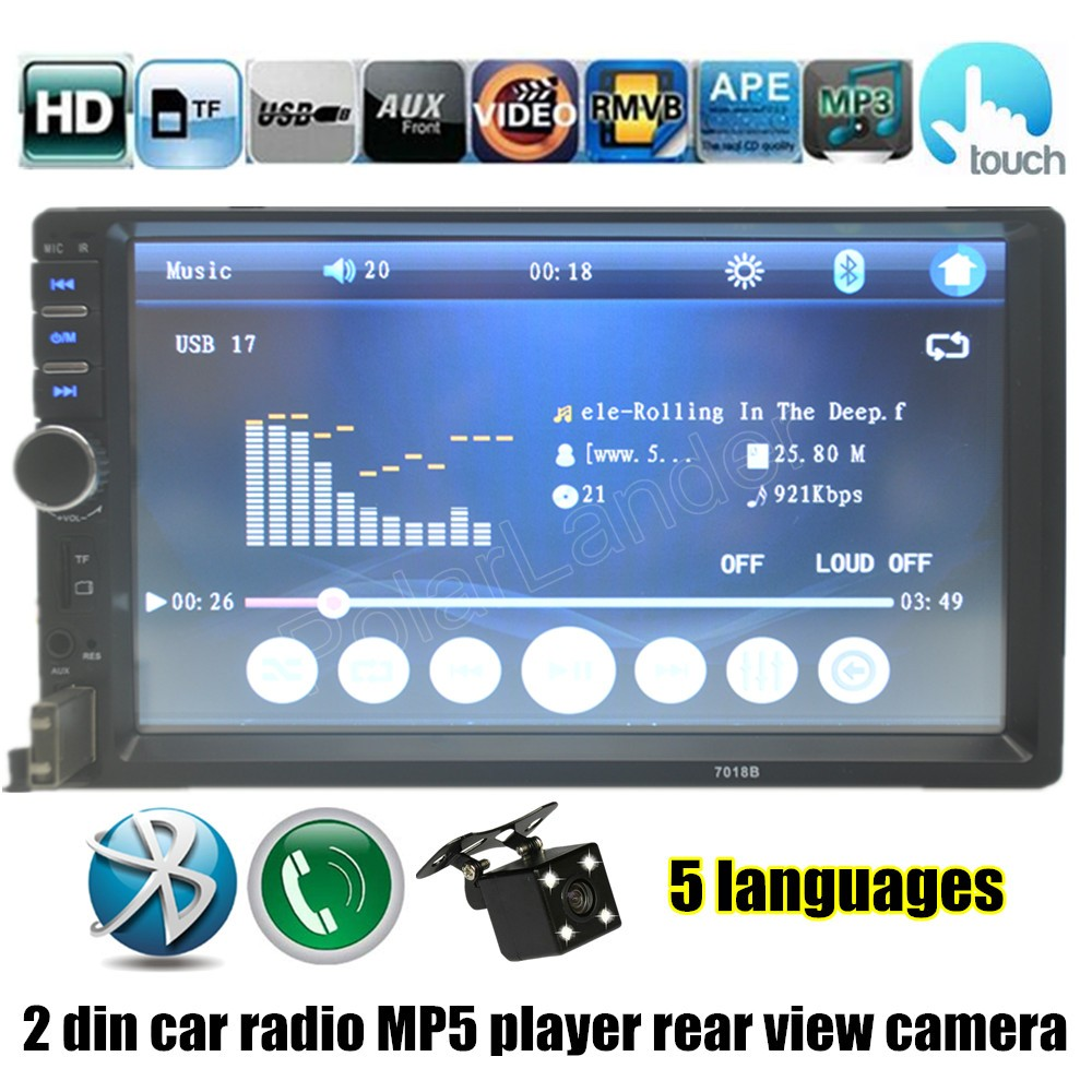 7 Inch FM MP4 MP5 player USB TF Auto radio Double DIN Car Touch Screen with rear view camera Bluetooth new arrival(China (Mainland))