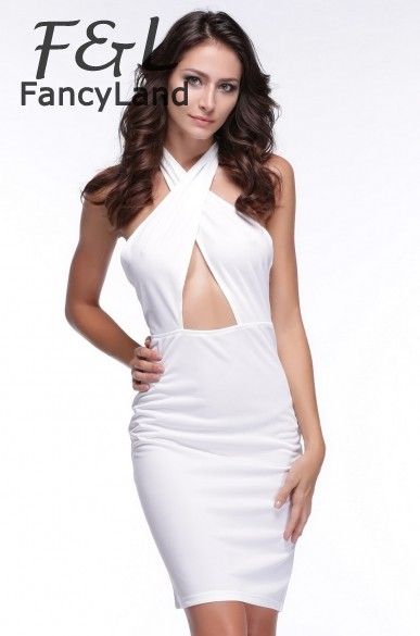 Best Price 2014 Sexy Fashion Summer Women Ladies party Dress crossover V-neck high waist cut out dress M L XL 35(China (Mainland))