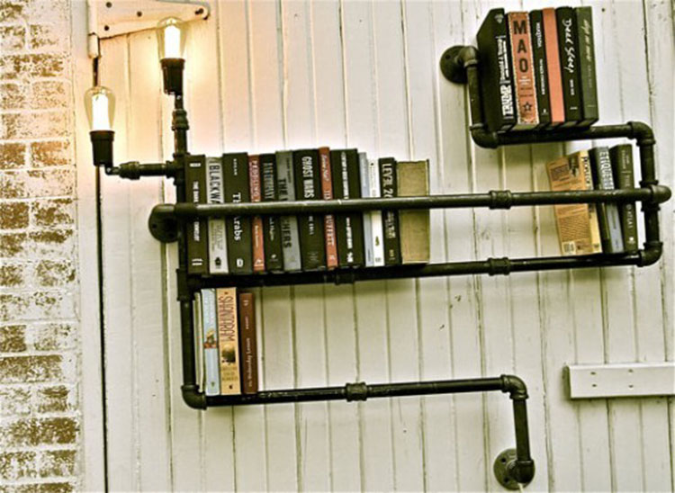 Vintage Industrial Loft Personality Bookshelf Water Pipe Iron Edison Wall Sconce Lamp Hotel Bar Restaurant Home Decor Lighting