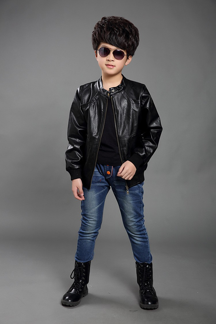 Children boys faux leather motorcycle jacket spring autumn kids long sleeve outwear fashion baby boy cool leather coat(China (Mainland))