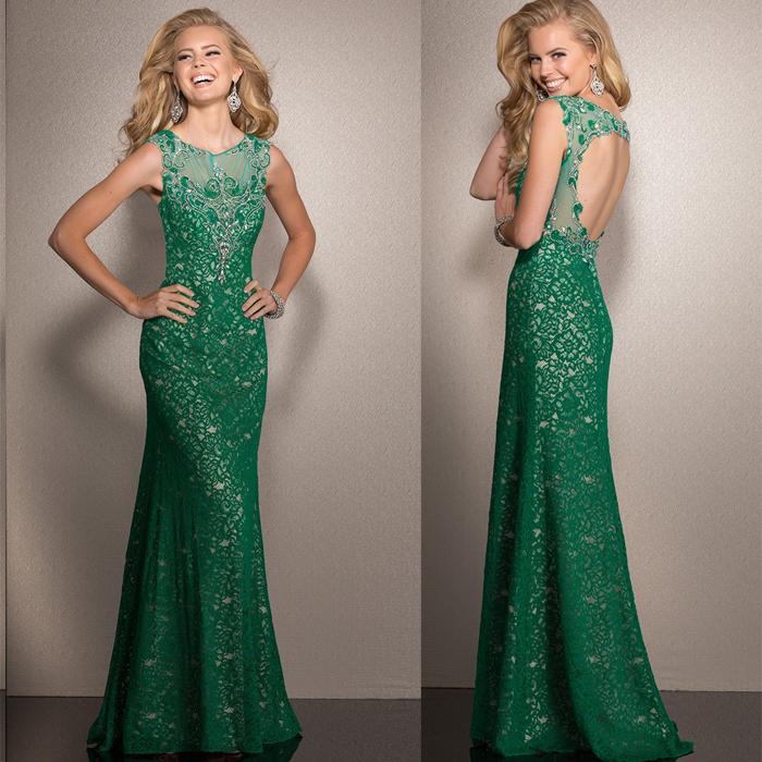 Vestidos De Baño Verde Menta:Alto cuello de la sirena verde menta largo Prom vestido de encaje
