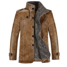 Leather Jacket Men Winter Jackets and Coats Thickening Wool Windbreak Waterproof Warm Skin Lamb Fur Trench Coat Jaqueta de couro(China (Mainland))