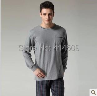 New 2015 Free shipping 100% cotton long-sleeve men pajamas sets men plaid pants sleepwear suits plus size home casual