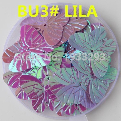 100Pcs LILA Color 22*30mm Large Butterfly Sequins with 2 holes Paillette Sewing glitter stickers in children serioms&Clothing(China (Mainland))
