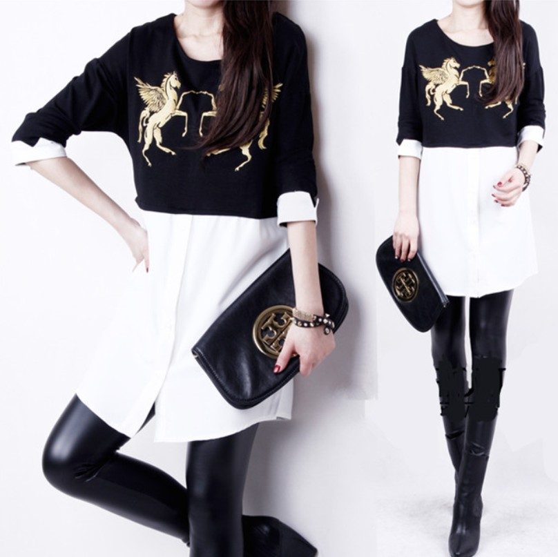 2014 spring one-piece dress fashion plus size clothing black-and-white colorant match long design basic T-shirt long-sleeve - jim yue's store